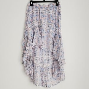 Surf Gypsy tile print high/low cover up skirt